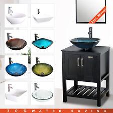 "24"" Bathroom Vanity Vessel Sink Combo Cabinet W/ Mirror Organizer Faucet Drain"