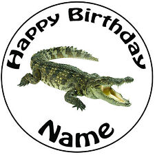 "Personalised Birthday Crocodile Round 8"" Easy Precut Icing Cake Topper"