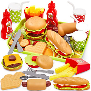 BUYGER Pretend Play Food Set with Tray Hamburger Hotdog Fries Role Play Take for