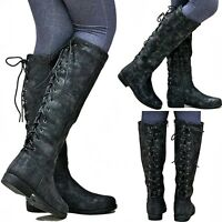 New Womens BM24 Lace Up Black Riding Knee High Cowboy Boots Sz 5.5 to 11