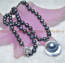 """25mm Natural South Sea pearl pendant necklace 7-7.5mm Black pearl strand 18"""" AAA"""