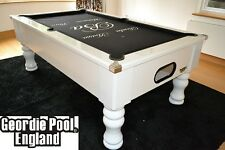new gloss white slate bed pool table with black cloth - Slate Pool Table