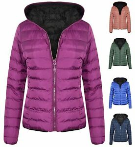 New Womens Hooded Reversible Zip Up Puffa Quilted Padded Puffer Jacket Coat