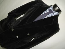 Primo men's vintage double breasted VELVET slim fit jacket coat 40 Long