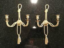 Pair Vintage Decorative Crafts Inc Brass Rope & Tassel Candelabra Wall Sconce
