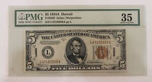 1934 A Hawaii 5.00 Five Dollar Federal Reserve Note PMG35 FR2302