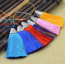10 Stück Mode Satin Quasten Handwerk Nähen Dekoration Kostüm 26 Farben 8cm Länge