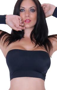 Boob Tube Top Black Matt Stretch Womens Strapless Bra Vest Crop Bandeau Club BM