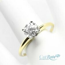 Round Cut Diamond Solitaire Engagement Ring 14k Yellow Gold