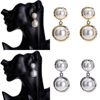 Elegant Women's Big Pearl Statement Gold Silver Alloy Dangle Drop Stud Earrings