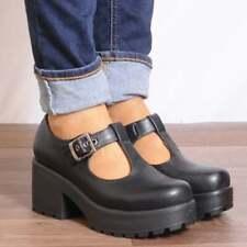 f4bfae3c8a1 Ladies Black T Bar Block Platform High Heel Sandals Shoes Size UK 3 4 5 6
