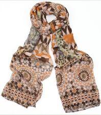BNWT Cute Brown 70's Retro Style Geometric Print Unusual Scarf Hijab Headscarf