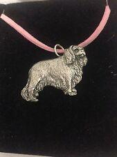 Charles Spaniel PP-D10 Inglés Estaño Emblema en Una Rosa Cable Collar hecho a mano