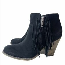 MIA Lindsie Black Suede Leather Fringe Side Zip Heeled Bootie Boots Size 8M