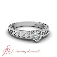 .55 Ct Heart Shaped FLAWLESS Diamond Solitaire Engagement Ring With Milgrain GIA