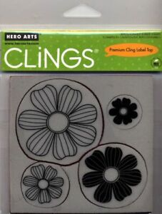 Hero Arts Cling Stamps -- 4 Flowers -- NEW - Reduced