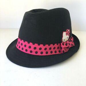 HELLO KITTY Girls Sanrio Black Fedora Hat Pink Polka Dot Ribbon Bow One Size