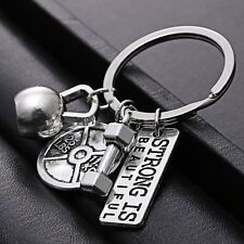 STRONG IS BEAUTIFUL DUMBBELL Fitness Weightlifting Keychain Gym CrossFit Keyring