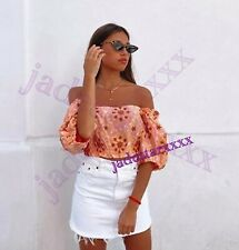 Zara Salmon Embroidered Puff Sleeves Top L Large 12 New Cropped