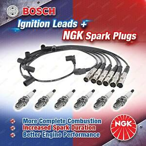 6 x NGK Spark Plugs + Bosch Ignition Leads Kit for Mercedes Benz 190E 260E 260SE