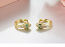 Earrings Small Creole Ring Snake Green Gold Plated Cz Marriage G6 103