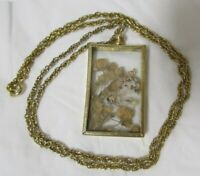 Vintage Gold Tone Rectangle Glass Enclosed Dried Media Pendant Necklace