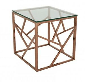 Modern Side Glass Cage Table - Rose Gold