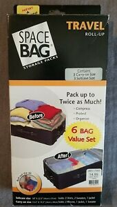 New Space Bag Storage Packs Travel Roll Up 6 Bag Set Suitcase & Carry Size TT20