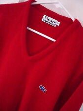 Vintage Mens Lacoste Alligator Sweater Blue Size Large V Neck Acrylic Red Izod