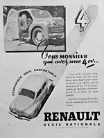 PUBLICITÉ DE PRESSE 1948 RENAULT 4 CV ÉCONOMIQUE MAIS CONFORTABLE