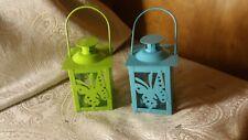 Set of 2 Decorative Mini Square Metal & Glass Candle Lantern Centerpiece
