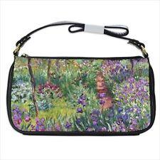 Monet Garden Flower Art Black Shoulder Clutch Bag Purse