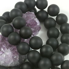 25 Pieces 16mm Matte Black Onyx Round Loose Spacer Beads 1.5mm Hole