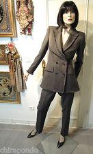 Rena Lange Hosenanzug Gr.36 grau zeitlos feinste Wolle Logo Knöpfe Fransen