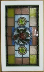 "MIDSIZE OLD ENGLISH LEADED STAINED GLASS WINDOW. Victorian Roses 29.75"" x 17.75"""