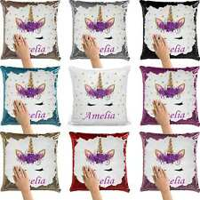 Personalised Unicorn Sequin Cushion Cover Magic Photo Reveal Pillow Birthday