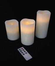 3er Set LED cire véritable Bougies crème weissTimer Télécommande vacillant en