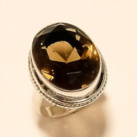 Natural Brazilian Smoky Topaz Ring 925 Sterling Silver New Year Fine Jewelry New