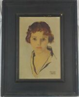 Vintage Original Oil Painting Art Deco Woman by Arthur Harris Listed