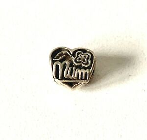 Solid Sterling Silver HEART Shape MUM Bead Charm