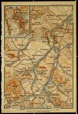Waldenburg, Gottesberg, Freiburg, alte farbige Karte, datiert 1899