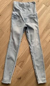 H&M Maternity Jeans Size 10, Light Blue, Over Bump