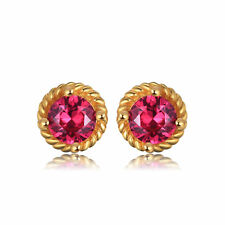 1.5ct 5mm Luxury Created Round Ruby Earrings Gold Plated Solid Sterling Silver