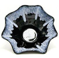 "Large Studio Art Pottery Bowl Centerpiece Home Decor 14"" Drip Glaze White Black"