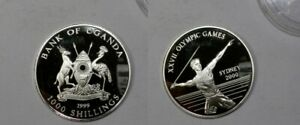 22.13 GRAMS PURE SILVE UGANDA 1999 OLYMPIC SILVER RPOOF #459-74