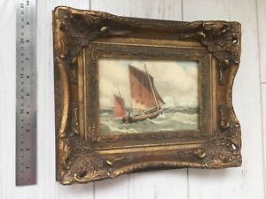 Antique Watercolour Painting Old Ships Fancy Gold Frame