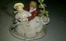 Superb Porcelain Dresden Lace Lady Figurine with man Handmade Germany