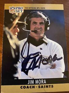 JIM MORA signed football card NEW ORLEANS SAINTS autograph