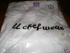 NEW MENS WOMENS SIZE LARGE CHEST WHITE POLY/COTTON CATERING CHEF WEAR JACKET