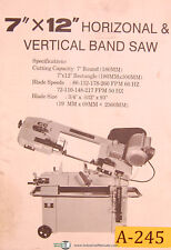 Acra 7 X 12 Horizontal Amp Vertical Band Saw Operations Install Amp Parts Manual